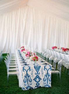 Brighten up the reception with fun printed linens