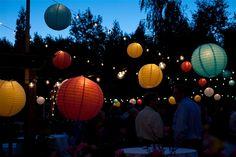 Carnival wedding - upside down umbrellas OR colorful rainbow paper lanterns??