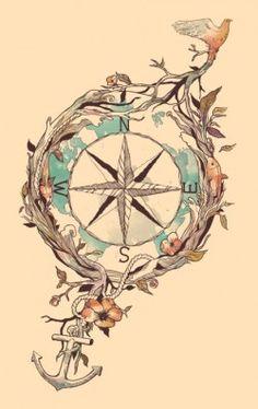 Compass, anchor and bird