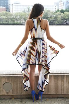 . summer dresses, bold prints, heel, outfit, the dress, blue shoes, price tags, dress shoes, tribal prints