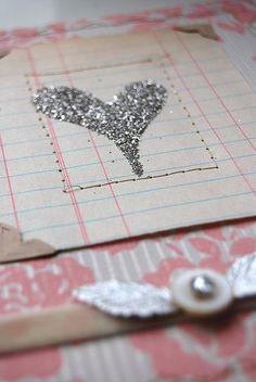 glitter heart on ledger paper. Wrong, but looks SO right!