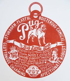 Hand printed Pug 'Dog Tag' Art by Debbie Kendall, The Enlightened Hound
