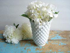 Vintage Imperial Vase Satin Milk Glass  Diamond Pattern by UpHome, $14.00