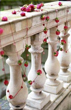 Pink spray rose railing decoration -  Richmond_Golf_Club zitaelzeflowers.co.uk