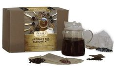 Craft your own delicious and unique teas with this tea blending gift set. Includes an assortment of natural #tea ingredients, teabags and a #teapot. #giftideas
