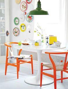 orange wishbone chairs