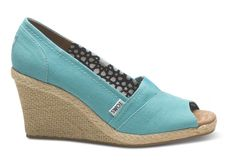 TOMS does wedding shoes - very casual but great cause. Aqua Canvas Women's Wedges | TOMS.com