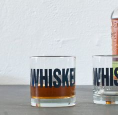 WHISKEY hand printed rocks glasses by vital on Etsy. THESE WIN.