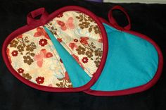 Butterfly on Blue Heart Shaped Potholder by HandcraftedforKids, $12.00