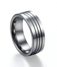 Polished Three Grooves Tungsten Ring