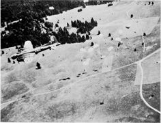 B-17 of US 94th Bomb Group drops supplies to French Resistance in Vercors region of France on Bastille Day, 14 July 1944. (USAAF photo)