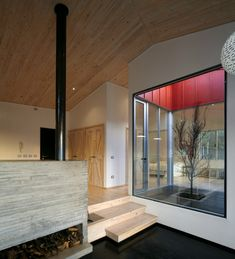 wa hous, interior, fireplac, living spaces, ceilings, cement, architecture, chalet, courtyard