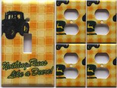 John Deere Tractor Light Switch Outlet Plate Cover Set 1&4 Country Kitchen Decor