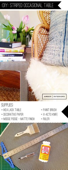 DIY: Striped Occasional Table