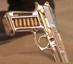 Romeo + Juliet: Mercutio's Dagger 9mm  skeletonized silver framed dagger 9mm, clear grips, extended barrel.