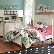 tween room - love this color for a girls room and bedding too!