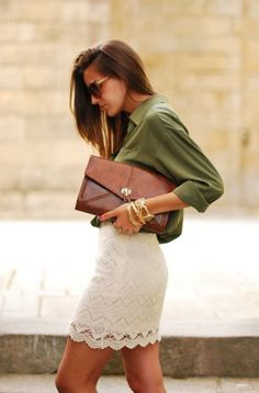 everything about this outfit is so perfect: olive shirt, leather clutch, lace skirt. classy and cute