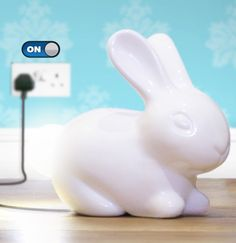 Bunny Lamp : Porcelain white rabbit with a light-up tail