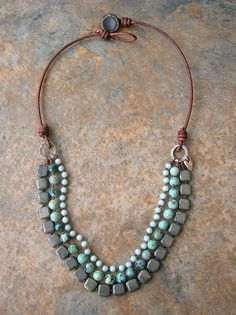 I'm pinning so I can make my own versions! Boho statement necklace Bohemian jewelry African by 3DivasStudio