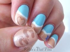 Beach nails, I love this! :) if I do the two sets of footprints in each side, it will be my 4 kids.