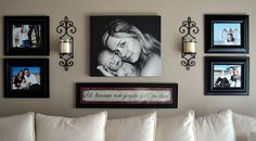 picture arrangement + sconces + quote