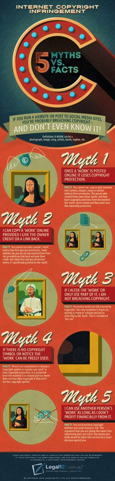 Myths and Facts about #Copyright Infringement Infographic #tlchat #austl #ozteachers #nswdec