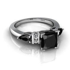 onyx engagement ring on