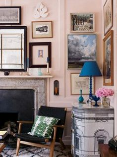 Think a salon-style wall can't work with on pale pink, think again!