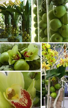 green apples and flower arrangements