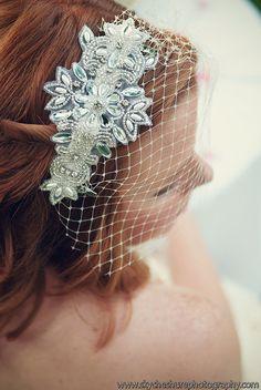 Bridal Birdcage Veil with beading.