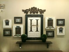 Like this arrangement <3   Cute for half bath wall? But not with family pics, I've always heard that you should't display family photos in bathrooms or at least not in ones for guests…so maybe something smaller with nature pics or art prints???
