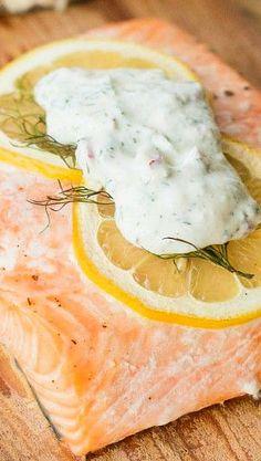 Cedar Plank Salmon with a Horseradish Dill Sauce