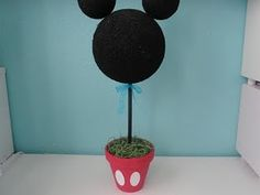 Mickey Mouse Topiary I made for my son's 1st birthday party.