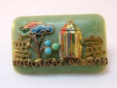 Antique Art Deco RARE Czech Neiger Brothers Chinese Pagoda Galalith Brooch