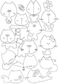 cats line drawings, embroideri patternrisco, embroidery patterns, tea towels, felt cat, cat template, diy cat crafts, felt toy, sewing patterns