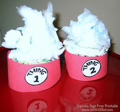 Free Printable Cupcake Signs for Thing 1 Thing 2