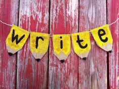 Make a cute bunting out of burlap.
