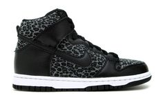 Black and Leopard Print Nike Dunk High's for Kids