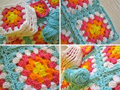 squar blanket, color combinations, granny squares, granni squar, quilt color