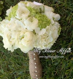 Wedding flowers and custom linens by My Flower Affair. www.myfloweraffai... wedding flowers, wedding decor, wedding flower centerpiece, wedding flower arrangement, bouquet... green and white hydrangea,rustic, green orchid, coffee bean, wax flower, baby's breath, burlap