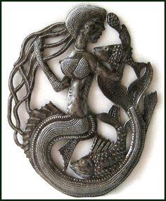 Mermaid Metal Art Wall Hanging - Haitian Steel Oil Drum Wall Decor -567. via Etsy.