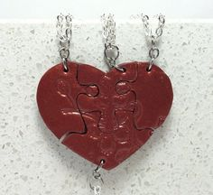 Best Friend Heart Shaped Puzzle Necklaces by GirlwithaFrogTattoo
