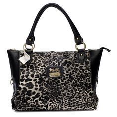 Coach Leopard Fur Large Black Totes BAH Collection, the greatest discount, 70% off.