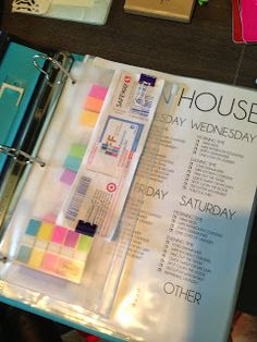 clean house schedule and home management binder