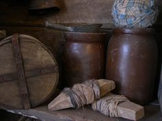 Brown early stoneware canning crocks...love these..perfectly primitive!