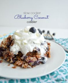 Slow Cooker Blueberry Coconut Cobbler