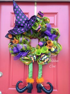 Witch wreath with legs & hat, Halloween, deco mesh