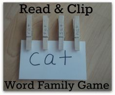 Read & Clip – Word Family Game - pinned by @PediaStaff – Please Visit  ht.ly/63sNt for all our pediatric therapy pins