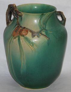 Roseville Pottery Pine Cone Green Vase