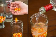 Make your own candy corn infused vodka for Halloween.